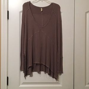 Free People taupe distressed tunic thermal
